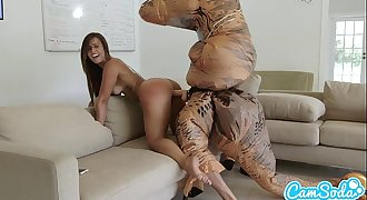 big nut sack latina teenager chased by lesbian loving TREX on a hoverboard then fucked