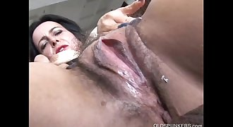 Nasty old spunker loves to fuck her soaking wet pussy